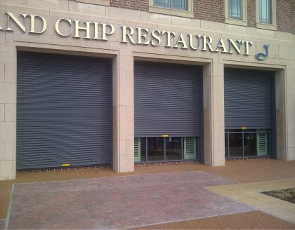 Visionguard 76 roller shutter fish and chip shop Sheffield
