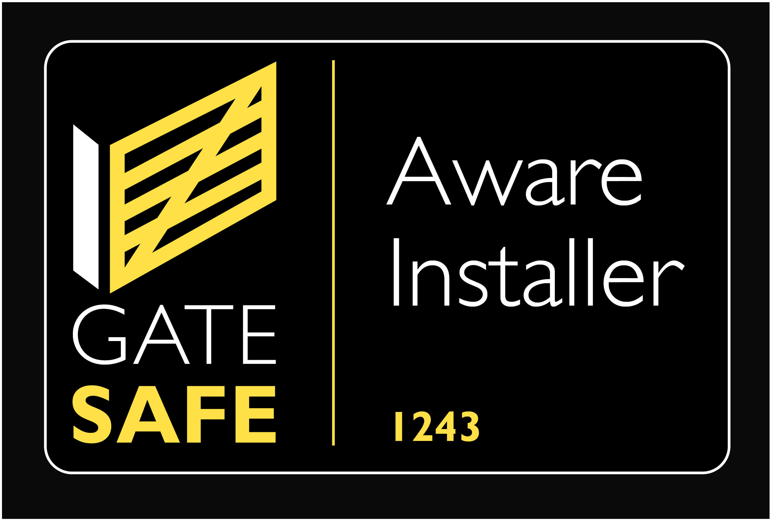 Gate Safe 'Aware Installer' badge
